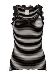 Silk top regular w/vintage lace - BLACK IVORY STRIPE