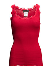 Silk top regular w/vintage lace - COSY RED