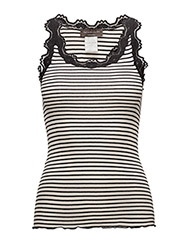 Silk top regular w/vintage lace - SOFT POWDER BLACK STRIPE