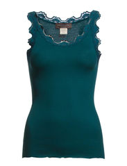 Silk top regular w/vintage lace - Deep sea