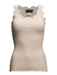 Silk top regular w/vintage lace - Light peach