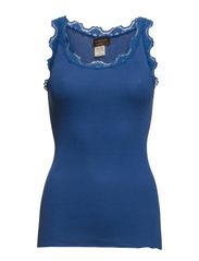 Silk top regular w/vintage lace - Saphire blue
