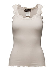 Silk top regular w/vintage lace - SOFT POWDER