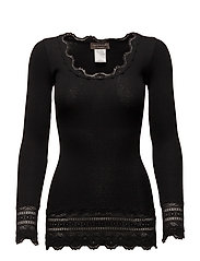 Silk t-shirt medium ls w/wide lace - BLACK
