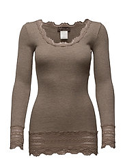 Silk t-shirt medium ls w/wide lace - BROWN MELANGE