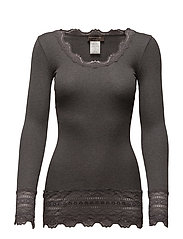 Silk t-shirt medium ls w/wide lace - DARK GREY MELANGE