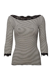 Silk t-shirt boat neck regular w/vintage lace - IVORY BLACK STRIPE
