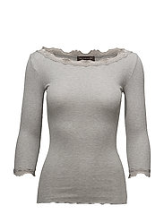 Silk t-shirt boat neck regular w/vi - LIGHT GREY MELANGE