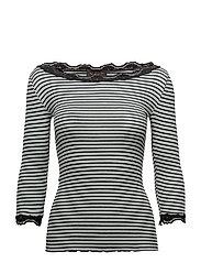 Silk t-shirt boat neck regular w/vi - PURITAN BLACK STRIPE