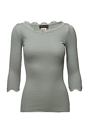 Silk t-shirt boat neck regular w/vi - PURITAN GREY