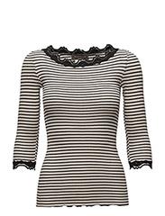 Silk t-shirt boat neck regular w/vi - SOFT POWDER BLACK STRIPE