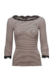 Silk t-shirt boat neck regular w/vintage lace - VINTAGE BLACK STRIPE