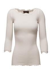 Silk t-shirt boat neck regular w/vi - SOFT POWDER