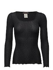 Silk t-shirt regular ls w/lurex - NAVY BLACK SHINE STRIPE
