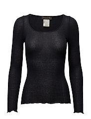 Silk t-shirt regular ls w/lurex - NAVY SHINE