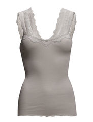 Silk top regular w/wide lace - Dove