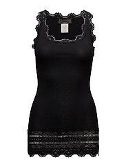 Silk top medium w/wide lace - BLACK