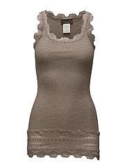 Silk top medium w/wide lace - BROWN MELANGE
