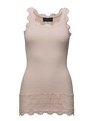 Silk top medium w/wide lace - SOFT ROSE