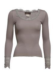 Silk t-shirt regular ls w/wide lace - Earth grey