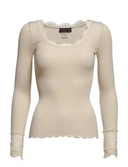 Silk t-shirt regular ls w/wide lace - Marble