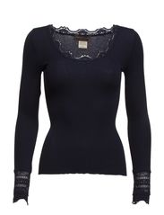 Silk t-shirt regular ls w/wide lace - Navy