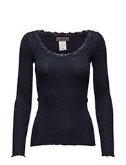 Silk t-shirt regular ls w/rev vinta - Navy