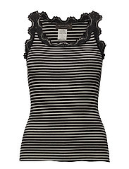 Silk top - BLACK IVORY STRIPE