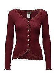 Silk cardigan regular ls w/rev vint - CABERNET