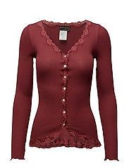 Silk cardigan regular ls w/rev vint - MAROON