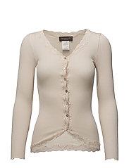 Silk cardigan regular ls w/rev vint - SOFT POWDER