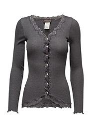 Silk cardigan regular ls w/rev vint - DARK GREY MELANGE