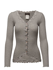 Silk cardigan regular ls w/rev vint - LIGHT GREY MELANGE