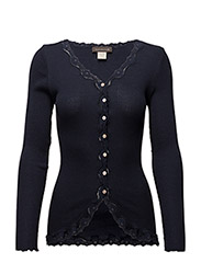 Silk cardigan regular ls w/rev vint - Navy