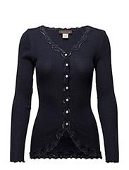 Silk cardigan regular ls w/rev vint - Navy