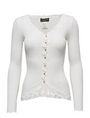 Silk cardigan regular ls w/rev vint - NEW WHITE