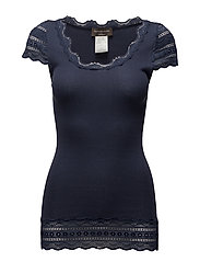 Silk t-shirt medium w/wide lace - MOOD INDIGO