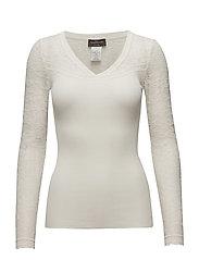 Silk t-shirt regular ls w/lace - IVORY