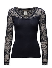 Silk t-shirt regular ls w/lace - NAVY