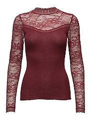 Silk t-shirt regular ls w/lace - CABERNET