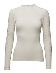 Silk t-shirt regular ls w/lace - IVORY