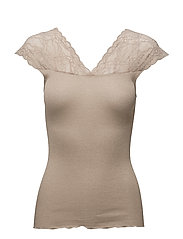 Silk top regular w/lurex and lace