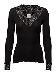 Silk t-shirt regular ls w/ lace - BLACK