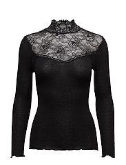 Silk T-shirt turtleneck Long Sleeve - BLACK