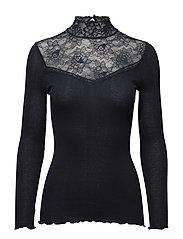 Silk t-shirt turtleneck regular ls - NAVY