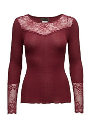 Silk T-shirt Long Sleeve - CABERNET