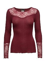 Silk t-shirt regular ls w/lace - CABERNET