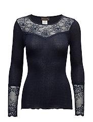 Silk T-shirt Long Sleeve - NAVY