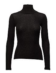 Wool T-shirt turtleneck Long Sleeve - BLACK