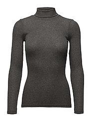 Wool T-shirt turtleneck Long Sleeve - DARK GREY MELANGE
